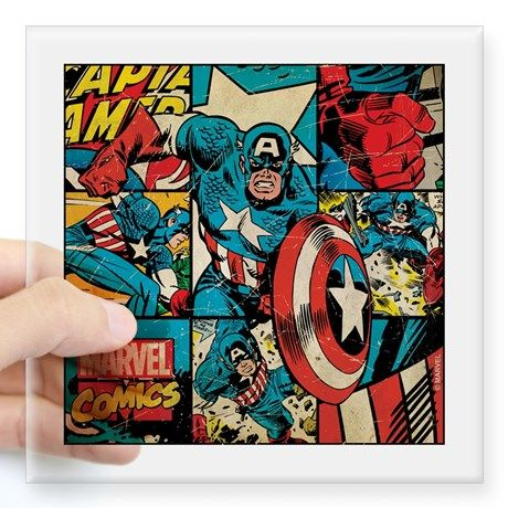 "Captain America Collage Square Sticker 3"" x 3"" on CafePress.com"
