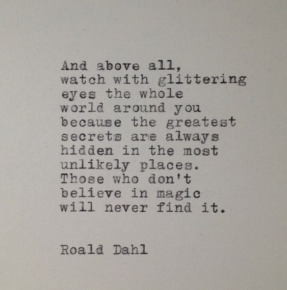 Roald Dahl Quote Typed on Typewriter by WhiteCellarDoor on Etsy