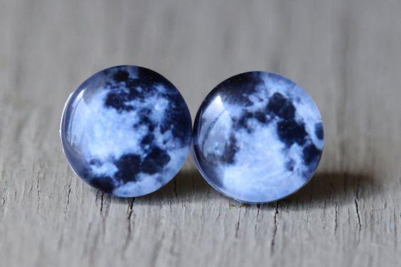 Full Moon Earrings : Fake Plugs, Moon, Stars, Constellation, Navy Blue and White Stud Earrings, Summer, ArtisanTree