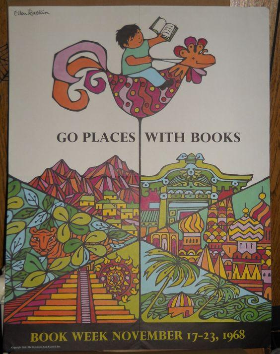 "1968 Ellen Raskin ""Go Places With Books"" School Book Week Poster"