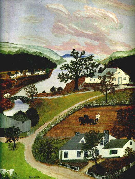 The Spring in Evening, 1947...Grandma Moses: Folk Art, Art Grandma, Grandma Moses Paintings, Moses Artist, Artist Grandma Moses, Art Painting, Grandma Moses Art, Art Artists