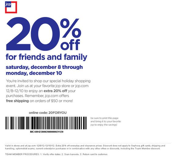 20% off at JCPenney, or online via checkout promo 20FORYOU coupon via The Coupons App