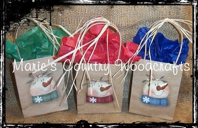 Hand Painted Snowman Gift Bags
