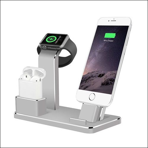 Black 3-in-1 Charging Base Stand Aluminium Alloy Charging Rack Holder for iWatch