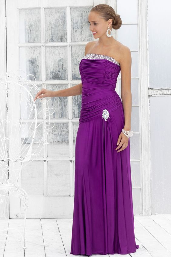 Jersey Strapless Pleated Bodice Floor-length Prom Dress