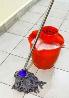 Homemade Floor Cleaner - Wood Floor: 1/4 cup white vinegar, 1 gallon warm water and a few drops of essential oil.  Vinegar disinfects and oil adds scent;  Ceramic Tile: 1/4/ cup white vinegar, 1/4 cup baking soda, 1 tbls dish soap, 2 gallons hot water