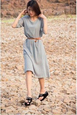 Outono Novo Estilo de Algodão de Linho Balanço Grande Plus Size Solto Maxi Vestido de Vestes Vestido De Festa Literária de Três…