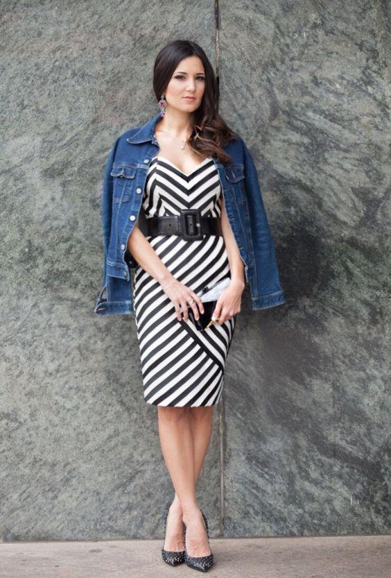 Vestido listras + Jaqueta Jeans