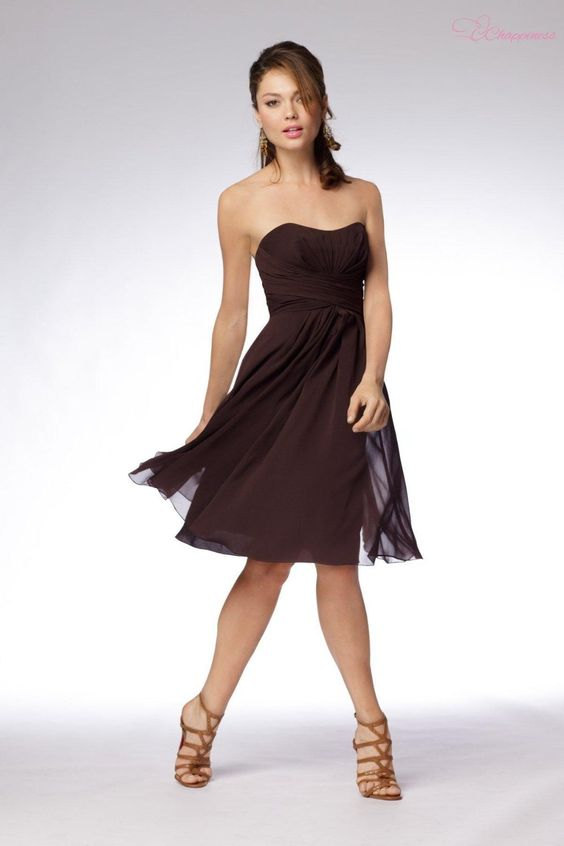 Super Chocolate Brown Bridesmaid Dresses Knee Length Chiffon ...