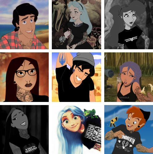 emo disney characters | Hipster/emo disney
