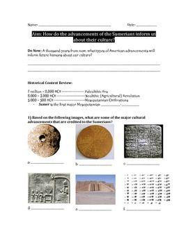 sumerian cultural advancements worksheet cuneiform ziggurats and gilgamesh primary sources. Black Bedroom Furniture Sets. Home Design Ideas