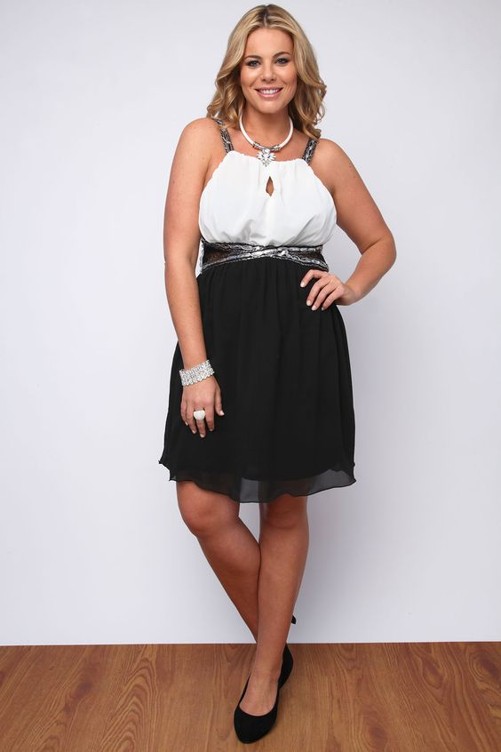 Black And White Chiffon Dress With Lace Insert And Sequins plus ...