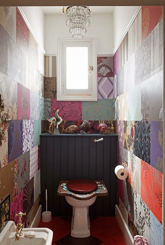 Unique Boho Powder Room. Maybe scrapbook paper for wall
