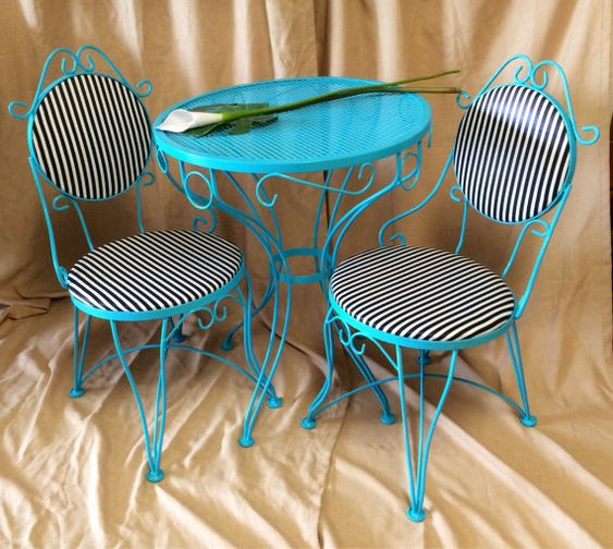 items similar to vintage metal bistro set 2 chairs and small table iron teal patio furniture black white striped funky retro turquoise breakfast table black and white patio furniture