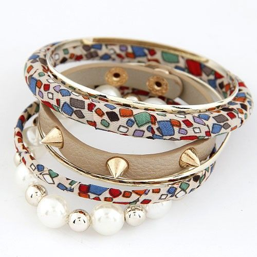 Rivets and Pearls Leather Bangle Set - White