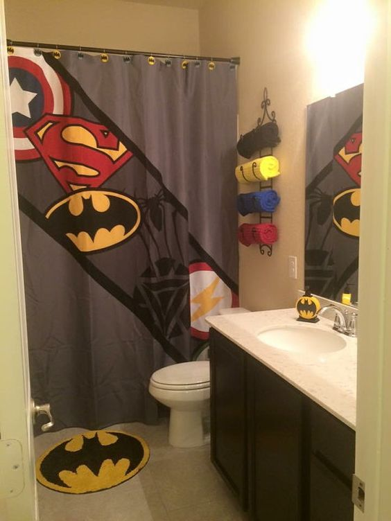 superhero shower curtain super hero shower by PrintArtShoppe