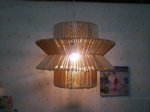 D I Y Lamp From Popsicle Sticks Hanging Youtube Hanging Lamp Diy Diy Lamp Rustic Lamps