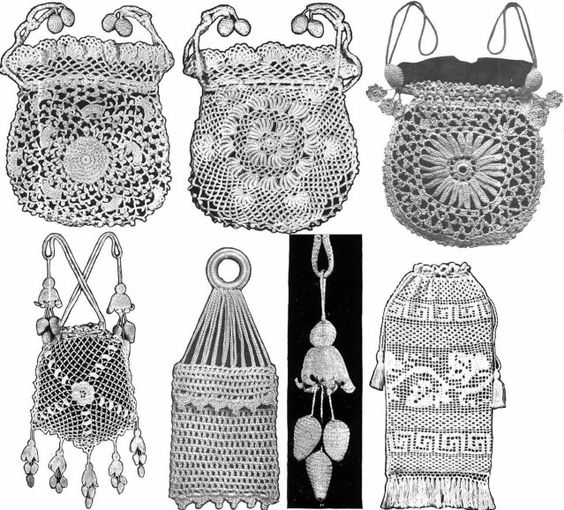 Irish Crochet Bag Free Pattern : Irish Crochet Book Purse Patterns WWI Titanic Bags 1912 ...