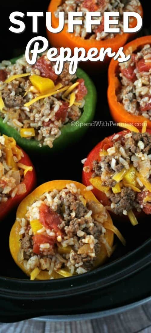 Crock Pot Stuffed Peppers Are Not Only Delicious But So Easy To Put Together Come Home To Stuffed Peppers Crockpot Stuffed Peppers Slow Cooker Stuffed Peppers