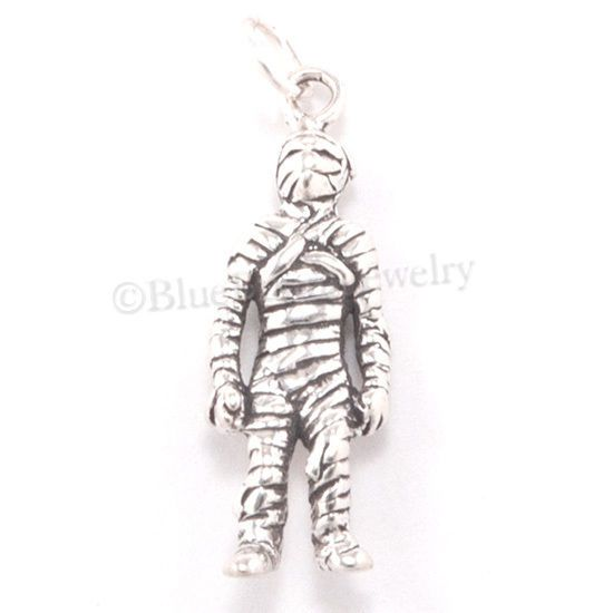 3D MUMMY Monster Solid 925 Sterling Silver HALLOWEEN Bracelet Pendant Charm auct