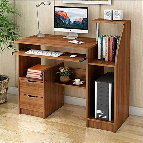 Computer Desk With Drawers And Speaker, Desk And Shelves