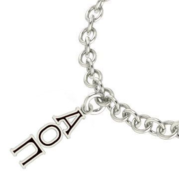 Alpha Omicron Pi Sterling Silver Black Lavaliere Charm Bracelet
