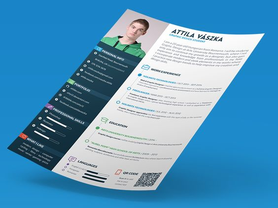 clean  colorful resume design by attila v u00e1szka  for more resume inspirations click here