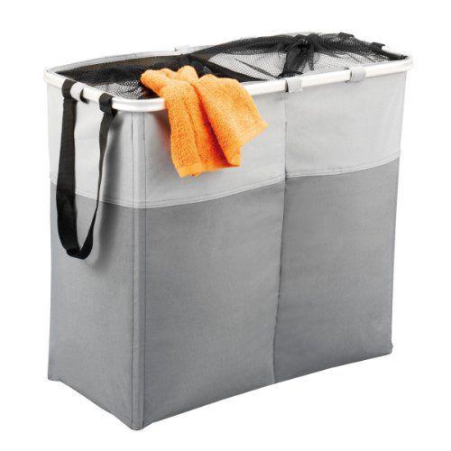 Accesorios para el hogar - Cesto para la colada con 2 compartimentos -  http://tienda.casuarios.com/zeller-13222-cesto-para-la-colada-con-2-compartimentos-poliester-63-x-31-x-55-cm-color-gris/