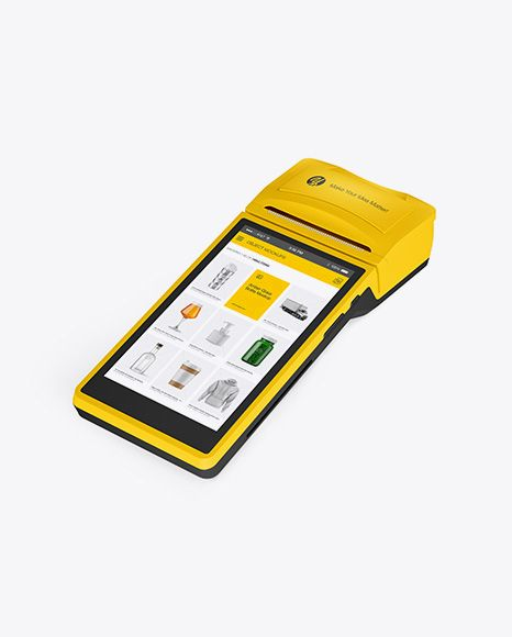 Download Mobile Payment Terminal Mockup Half Side View In Device Mockups On Yellow Images Object Mockups Mockup Free Psd Free Psd Mockups Templates Psd Mockup Template PSD Mockup Templates