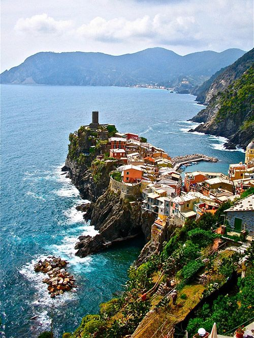 Vernazza, Italy -- I went to Cinque Terre on my 21st birthday. Hiked, sat on the beach, ate pesto pizza, and drank champagne with friends. Heaven. Dying to go back.