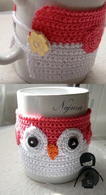 calienta tazas buho najma crochet cosy warm cup