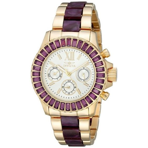 Invicta Angel Multi-Function Silver Dial Gold-plated Purple Acetate... (450 SAR) ❤ liked on Polyvore featuring jewelry, watches, invicta watches, dial watches, bracelet watches, invicta wrist watch and purple jewelry