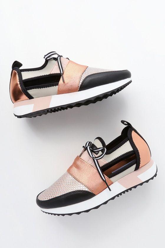 Arctic Rose Gold Cutout Sneakers