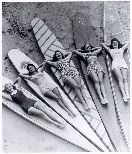 1950s Ray Leighton photo of Pat Crum, Lillian Galvin, Pam Toyer, Pam Inch and (Lillian's sister) Dorothy Galvin on hollow boards at Manly    Allan Jackson sent me a note recently about his mum, Lakemba femlin Lillian Jackson (that's her second on the left, cool smile), immortalised in this 1950s photo, and offered to ask Lillian to provide added info on the photo.    Here's what she wrote… I have been in touch with Betty Leighton regarding the names of the girls on the boards. Pat Crum…