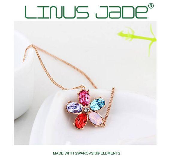 LINUS JADE Halskette Anhänger MADE WITH SWAROVSKI® ELEMENTS Blume Fuchsia Blau http://bit.ly/1F9dkns