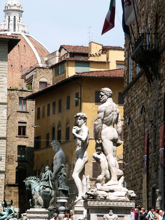 Piazza Della Signoria in Florence Italy. Lots of statues throughout the piazza. A must see in Florence!