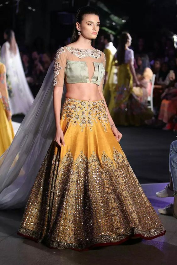 Indian Lehenga Choli Designs For Wedding Grey outfit by Manish Malhotra