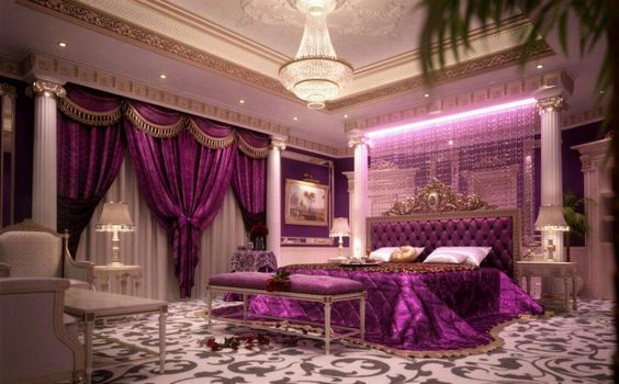 Luxury-Bedroom-Ideas-For-Couples-with-Satin-Purple-Bed-Linen-and-Amazing-Crystal-Chandelier.jpg (1024×637)