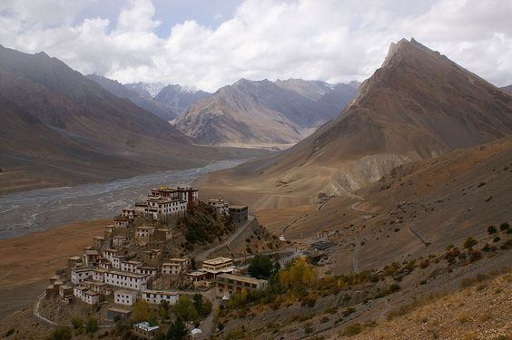 Key Gompa Monastery - Tibetan Buddhist monastery located on top of a hill at an altitude of 4,166 metres (13,668 ft) above sea level, close to the Spiti River, in the Spiti Valley of India. http://en.wikipedia.org/wiki/Key_Monastery  photo from #paulwhybrow Paul Whybrow at paulwhybrowblog.wordpress.com