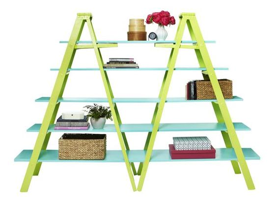 Designer MacGyver: 5 Wooden Ladder Ideas You've Never Tried (http://blog.hgtv.com/design/2014/02/10/wooden-ladder-ideas/?soc=pinterest):