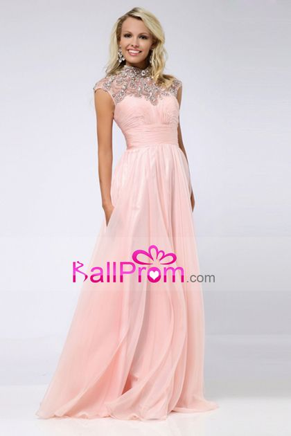 2015 Big Clearance Prom Dresses High Neck A-Line Chiffon With Beads&Ruffles