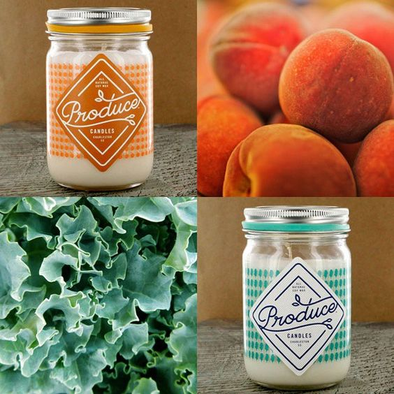 These @producecandles are made with natural soy wax and would make a perfect mothers day gift! They bring the best of the farm stand into your home with scents like peach, kale, wildflower, carrot, mint, melon, honey, & rhubarb! Fair warning-- they're addictive! #sadiegreens #producecandles #soycandles #farmstand