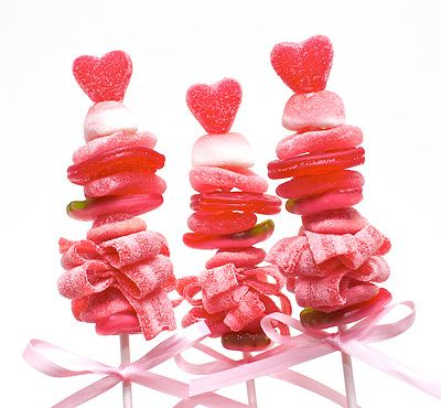 Valentine   Sweet Skewers     {Assorted gummy, sour, marshmallow   and licorice candies}