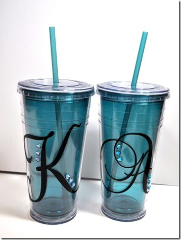 Love it...inexpensive insulated glasses jazzed up with vinyl letters + rhinestones = great gift!