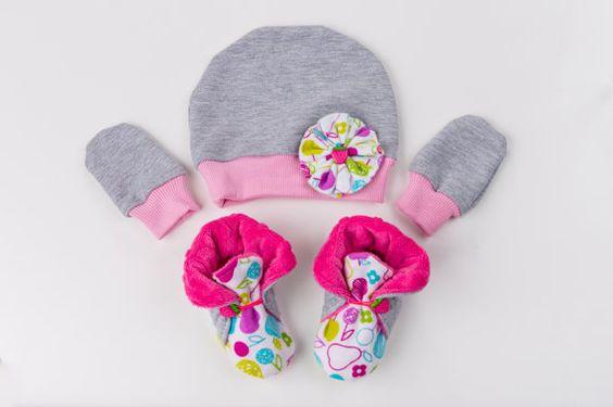 Adorable soft sole booties + cap, set, minky shoes, toodler shoes
