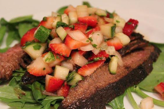 Cocoa Marinated Steak with Strawberry Chutney