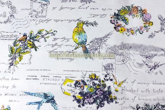 Vintage Looking Bird Wreath and Poems Linen Cotton by stefaniexu