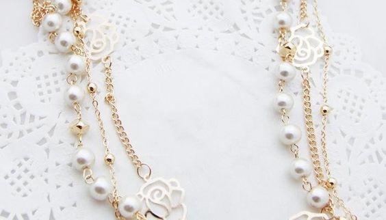 19 min order é $10 coreano jóias de várias camadas rosa colar de flores em Colares com pingente de Jóias no AliExpress.com   Alibaba Group