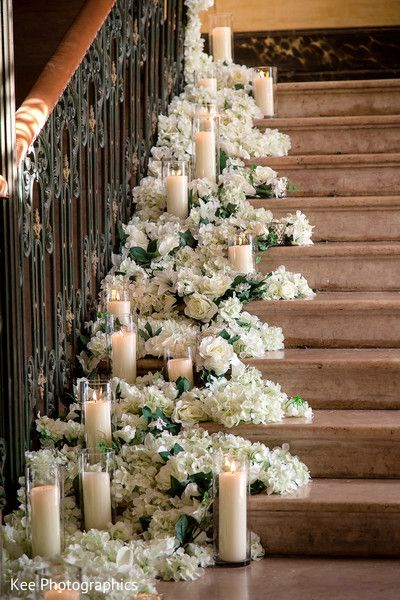 Gorgeous Staircase Floral Decor Indian Wedding Candles Candle