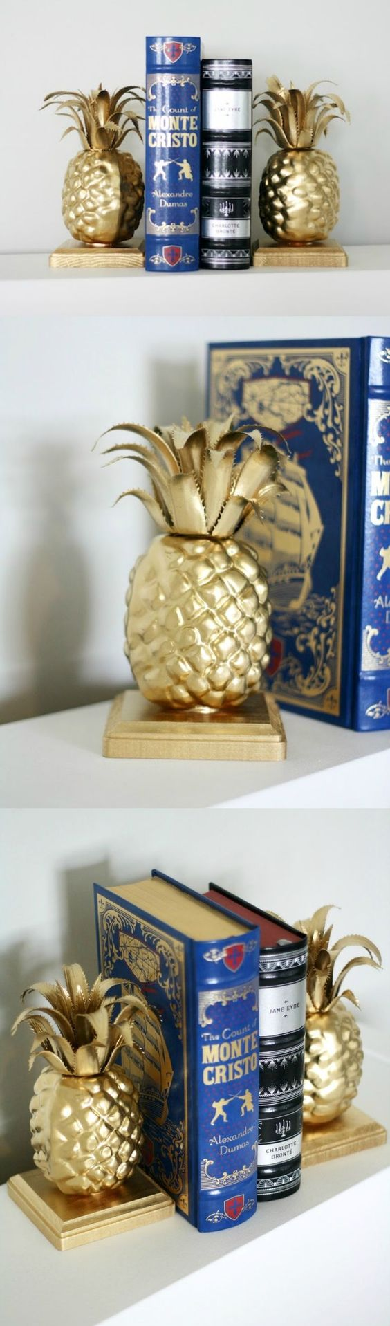 Learn how to make these simple, custom pineapple DIY bookends in just a few steps! The supplies are also very budget friendly.: